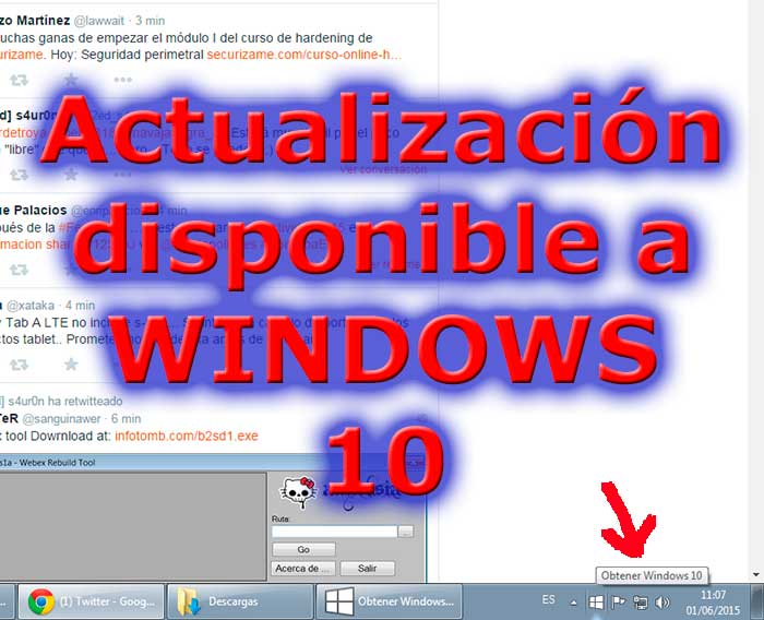Actualización disponible a windows 10.