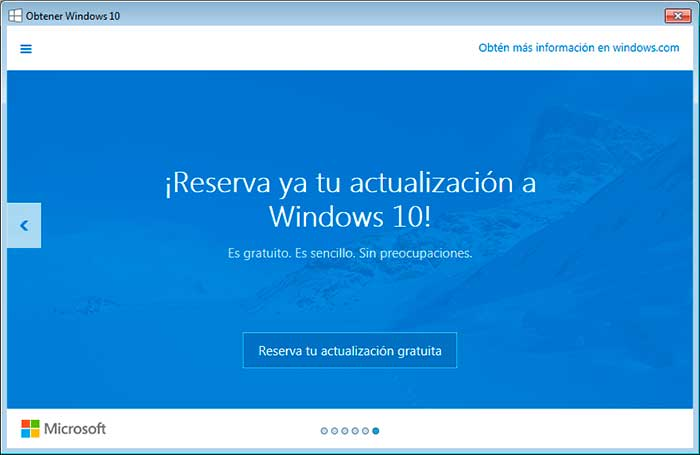 Texto promocional sobre windows 10.