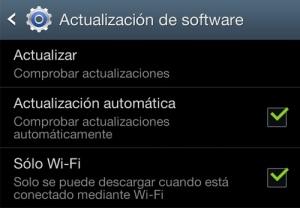 Captura: Menú de configuración modelo Samsung
