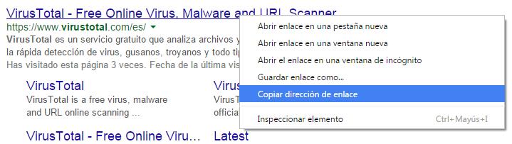 Detalle de copiado dirección web.
