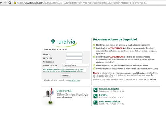 Captura: Página original de la entidad bancaria.