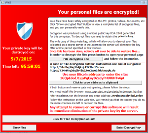 Captura: Pantalla de Cryptolocker