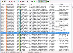 Captura: Captura parcial de Process Monitor