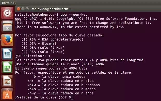 Los comandos necesarios para generar claves con GnuPG.