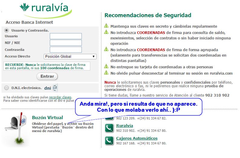 Captura: Web bancaria oficial. Donde andará el botón