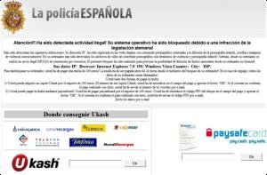 """RansomWare llamado """"Virus de la Policia"""" en España"""