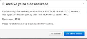 Captura: Resultado de análisis con Virustotal