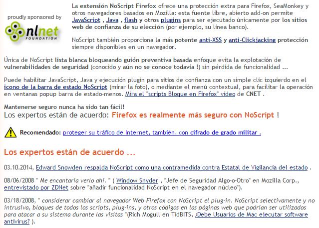 Captura: noscript.net.