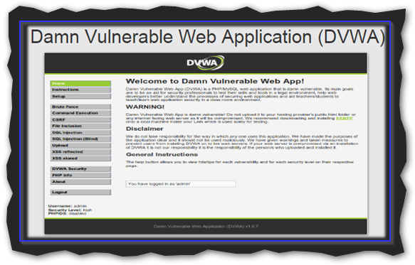 Captura: Damn Vulnerable Web Application (DVWA).