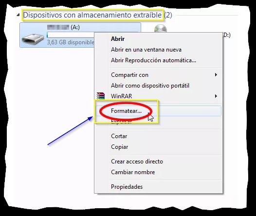 Captura: Seleccionar unidad (USB) click derecho y formatear.
