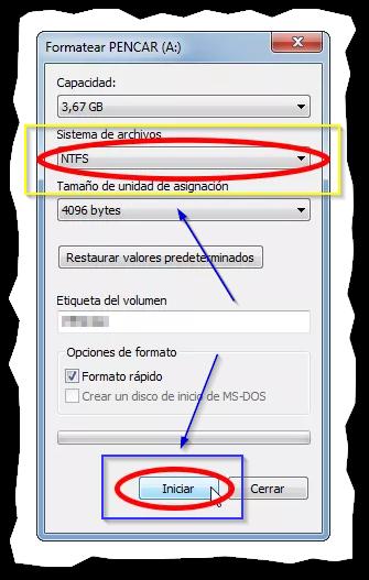 "Captura: Sistema de archivos ""NTFS o Fat32"" (este último recomendado) e iniciar."