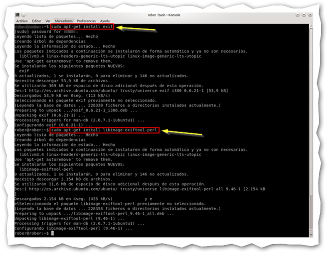 Captura: Terminal linux.
