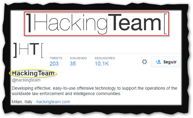 Captura: Perfil en Twitter de Hacking Team.