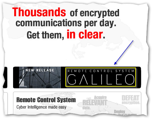 Captura: Remote Control System o Sistema de Control Remoto de Hacking Team. Se comercializa como