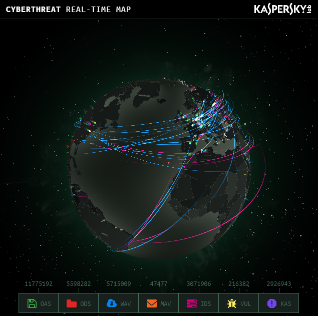 Captura: Pincha ren la imagen para ir a Kaspersky - CYBERTHREAT REAL-TIME MAP -.