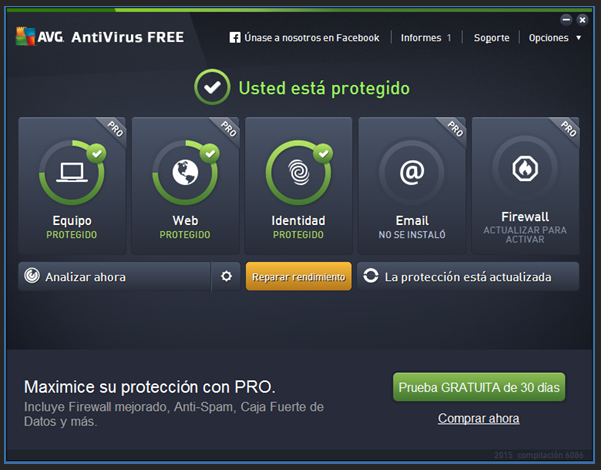 "Captura: Windows 7 con motor de análisis ""AVG Antivirus""."