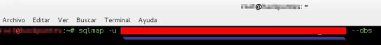 """Captura: Proceso para obtener el nombre de la """"base de datos"""" con SQLmap."""