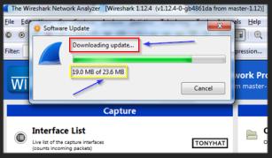 "Captura: Si tenéis instalada alguna versión de ""Wireshark"", comprobar si está actualizada. };]"