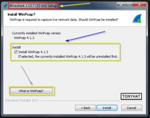 """Captura: Nos pregunta si queremos instalar """"WinPcap 4.1.3), en este ejemplo le pondré que si (vosotros podéis decidir en base a vuestras necesidades). También podemos consultar la ayuda si no sabemos que es """"WinPcap"""" (pincha y lo sabrás) :)"""