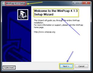 """Captura: """"Next"""" y continuamos con la instalación de """"WinPcap"""" :)"""