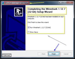 """Captura: Terminada la instalación completa de """"Wireshark"""", pinchamos en """"Finish"""" para ejecutar el software... ;)"""