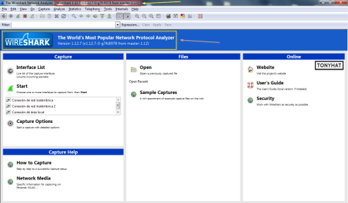 "Captura: Interfaz principal ""Wireshark"" }:D"