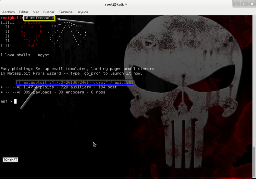 "Captura: Ejecutar ""msfconsole"" para acceder a ""Metasploit""."