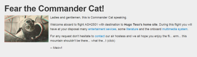 Captura: Web de Hugo Teso. Commander Cat! :)