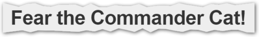 """Captura: Título cabecera del site oficial """"commandercat.com"""". By; Hugo Teso."""