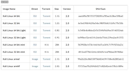 "Captura: Sección de descargas ""Kali Linux 2.0) web oficial."