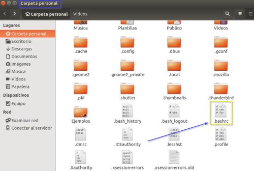 """Captura: Archivo de configuración de """"Bash""""."""