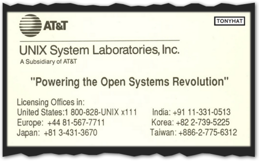 Captura: Unix System Laboratories (departamento de AT&T/Laboratorios Bell) ;)