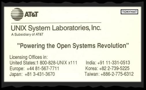 Captura: Unix System Laboratories (departamento de AT&T/Laboratorios Bell) ;)