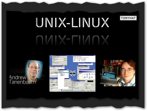 Captura: Andrew Tannenbaum, Minix (SO) y Linux Torvalds ;)