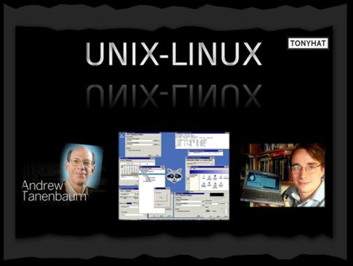 Captura: Andrew Tannenbaum, Minix (SO) y Linux Torvalds ;)