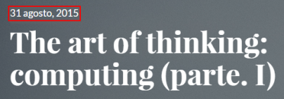 The art of thinking, parte. 1 - BLOG - 20