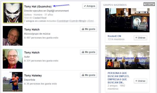"""Captura: Al pulsar """"enter"""", harás la búsqueda directamente desde el """"motor"""" de """"facebook"""" :)"""